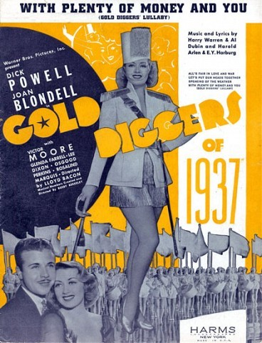 "Gold Diggers of 1937, The heyday of the Warner Bros./Busby Berkeley musicals was on the wane by 1936. Hollywood musicals by the mid-30s were starting to shift to ""book numbers,"" with characters singing and dancing when they should have been talking or walking. ""Gold Diggers of 1937"" is an attempt by Berkeley to follow this trend, but still hang onto what had worked in the past for him. The films best musical number is ""All's Fair In Love and War""."
