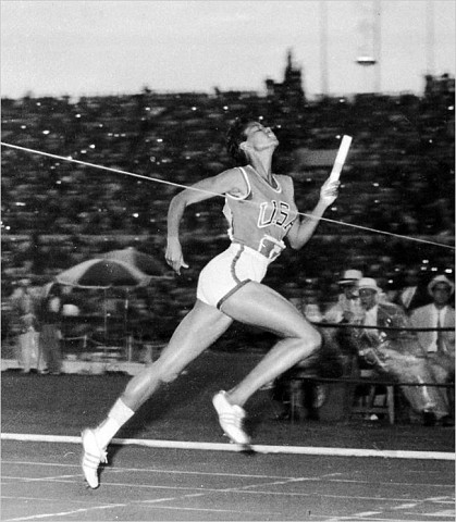 [Associated Press] Wilma Rudolph wins the 400-meter relay at the Rome Olympics, Sept. 8, 1960.