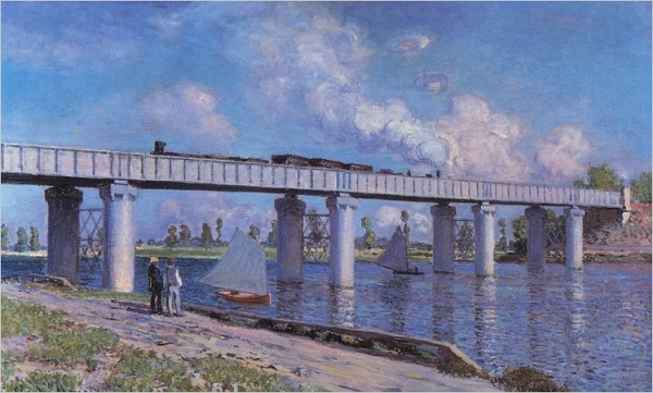 """[Christie's]Monet's """"Railroad Bridge at Argenteuil,"""" a canvas from 1873, sold Tuesday night for $41.4 million — a record for the artist — at an auction at Christie's."""