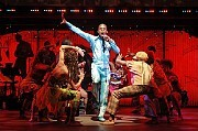"""Fela!,"""" with Sahr Ngaujah sharing the title role as the revolutionary singer, has made an energetic move from Off Broadway to the Eugene O'Neill Theater [Sara Krulwich/The New York Times]"""