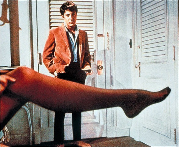 """[Robert Willoughby/Embassy Pictures, via Associated Press]Dustin Hoffman and the stockinged leg of Anne Bancroft, from """"The Graduate,"""" 1967."""