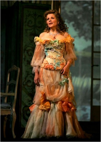 "[Photo: Ruby Washington/The New York Times] The Metropolitan Opera commissioned three renowned fashion designers to create Renée Fleming's costumes for its season opener, a gala showcase in which Ms. Fleming was featured in roles from three different operas. Ms. Fleming, portrayed Violetta in Verdi's ""Traviata"" in a dress designed by Christian Lacroix."
