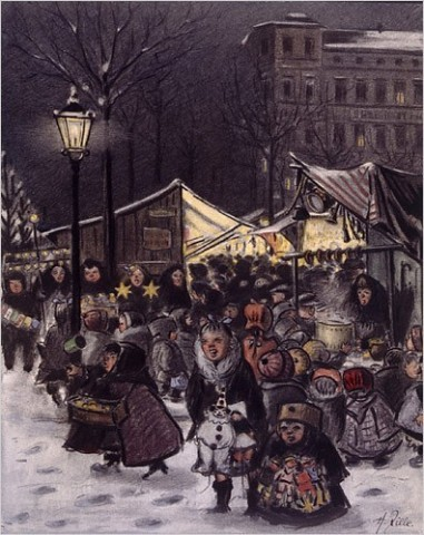 "[Photo: Images provided by Academy of Arts Berlin] ""Christmas at the Market,"" by Heinrich Zille, 1912"