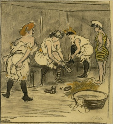 """[Photo: Images provided by Academy of Arts Berlin] """"Four Women in a Changing Room,"""" by Heinrich Zille """"If you're not German, the name probably rings no bells. But here, where thousands turned out for his funeral in 1929, the famous and the luckless, and where a small museum is now devoted solely to him, it's a different story."""""""